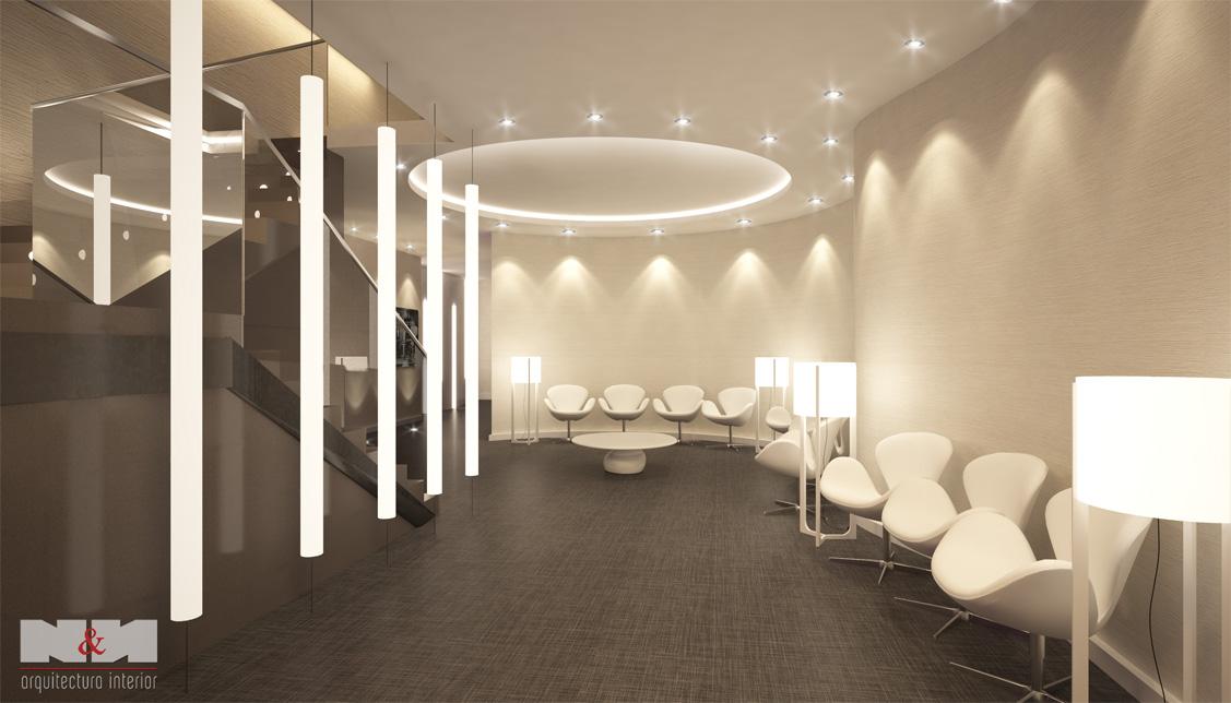 N&N. Nuño y Nuño Arquitectura interior, interiorismo y decoración infografías, vista lobby planta sótano