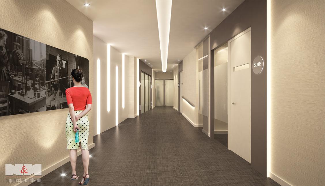 N&N. Nuño y Nuño Arquitectura interior, interiorismo y decoración infografías, vista planta sótano pasillo