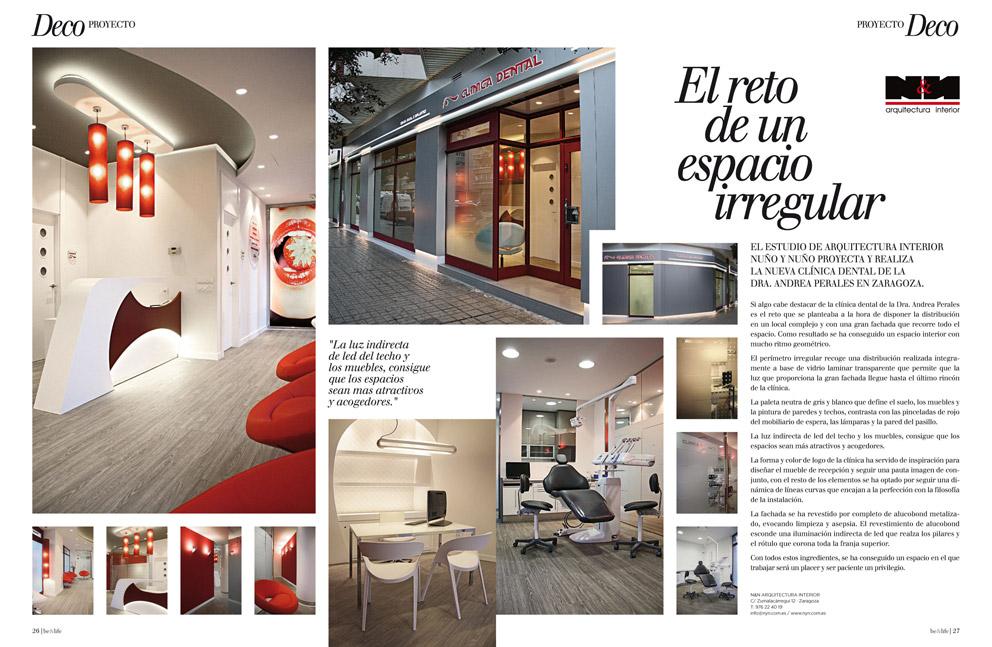 Nuño & Nuño realiza la nueva Clínica Dental de la Dra A. Perales en Zaragoza. Revista BEANDLIFE.