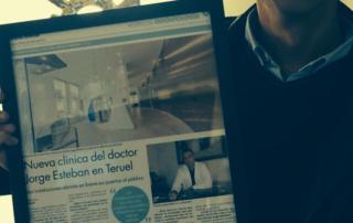 Nuño & Nuño. Artículo de prensa en el diario de Teruel: Nueva clínica del Dr. Jorge Esteban en Teruel.